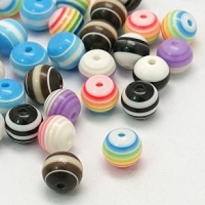 plastične perle - okrogle 8 mm, pisane, mix 10 kos
