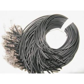 osnova za ogrlico - gumi (kavčuk), 48 cm, črne b., debelina: 2 mm, 1 kos