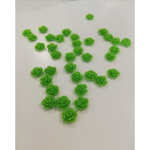 roža - umetna masa, 10 x 5 mm, zelena, 1 kos