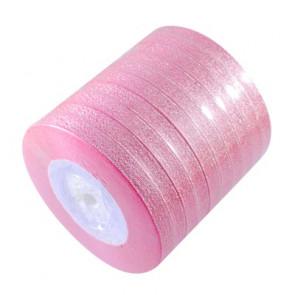 satenast trak, Pink - bleščeč, širina: 6 mm, dolžina: 22 m