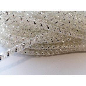 cev za nakit - tkana, 4.5 mm, beige, 1 m