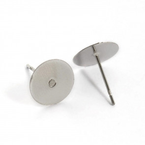 osnova za uhan 12x10x0.8mm, nerjaveče jeklo, velikost ploščice: 10 mm, 10 kos