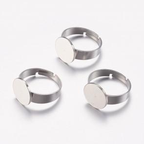 osnova za prstan s ploščico 12 mm, premer nastavljivega obročka: 17 mm, nerjaveče jeklo, 1 kos