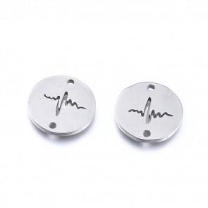 obesek/vmesnik za nakit, utrip srca,11,5x1 mm, nerjaveče jeklo, 1 kos
