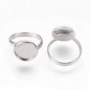 osnova za prstan za kapljico 12 mm, premer nastavljivega obročka: 17 mm, nerjaveče jeklo, 1 kos