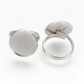 osnova za prstan za kapljico 16 mm, premer nastavljivega obročka: 17 mm, nerjaveče jeklo, 1 kos
