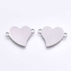 obesek/vmesnik za nakit, oblika srce, 13.5x18.5x1mm, nerjaveče jeklo, 1 kos