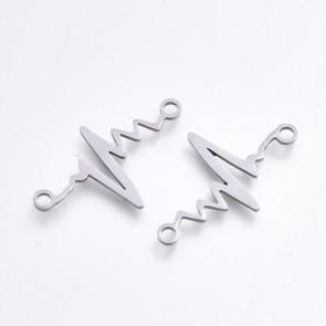 obesek/vmesnik za nakit, utrip srca, 24x14,5x1 mm, nerjaveče jeklo, 1 kos