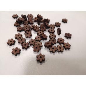 lesena kapljica - rožica z luknjo 10 mm, temno rjave barve, 1 kos