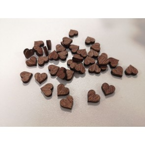 lesena kapljica - srček 10 mm, temno rjave barve, 1 kos