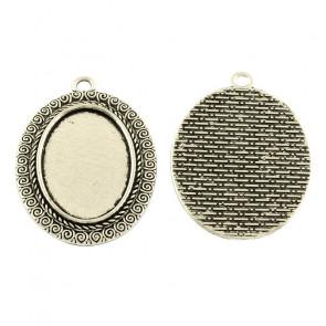 osnova za obesek - medaljon 45x31x2mm, b. starega srebra, brez niklja, velikost kapljice: 20x30 mm, 1 kos