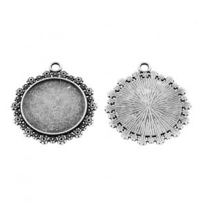 osnova za obesek - medaljon 31x28x2mm, b. starega srebra, brez niklja, velikost kapljice: 20 mm, 1 kos