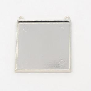 osnova za obesek - medaljon 49x49x2 mm, b. starega srebra, brez niklja, velikost kapljice: 45x45 mm, 1 kos