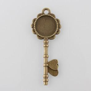 osnova za obesek - medaljon 73x29x2 mm, antik, brez niklja, velikost kapljice: 20 mm, 1 kos