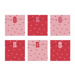 papirnata vrečka, 13x14 cm, roza/deče mix s srčki, 1 kos (vrečka in nalepka)