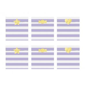 papirnata vrečka, 13x14 cm, svetlo vijola, 1 kos (vrečka in nalepka)