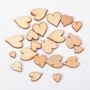 lesena kapljica - srček 8~18x6~15x2 mm, naravna, 10 kos