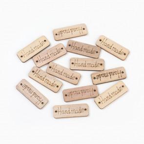 "lesen našitek ""hand made"", 15x40x2 mm, naravne barve, velikost luknje: 1,8 mm, 1 kos"
