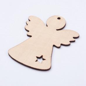 leseni obesek - angel, 78x64x2.5 mm, naravne b., 1 kos