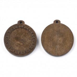 osnova za obsek, medaljon, les, okrogla, rjave b., 39x35x5 mm, velikost kapljice: 25 mm, 1 kos