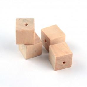 lesene perle - kocka 15.5x15.5 mm, naravne, velikost luknje: 3 mm, 1 kos