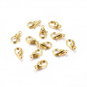 karabin 12 mm, zlate barve, brez niklja, velikost luknje: 1,5 mm, 1 kos