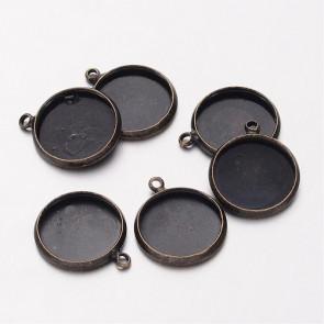 osnova za obesek - medaljon 17x14x2mm, antik, velikost kapljice: 12 mm, 1 kos