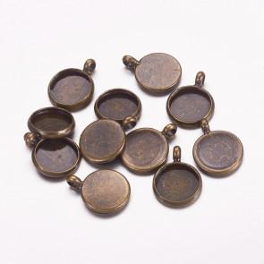 osnova za obesek - medaljon 12x2mm, antik, brez niklja, velikost kapljice: 10 mm, 1 kos