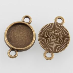 osnova za obesek - medaljon 19.5x13x2 mm, antik, brez niklja, velikost kapljice: 10 mm, 1 kos