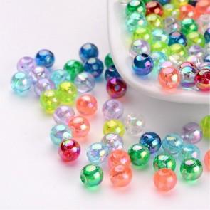 plastične perle 5 mm, AB mix, 200 kos