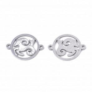 obesek/vmesnik za nakit, kozorog, 21x16x1 mm, luknja: 1.4 mm, nerjaveče jeklo, 1 kos