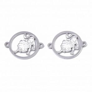 obesek/vmesnik za nakit, lev, 21x16x1 mm, luknja: 1.4 mm, nerjaveče jeklo, 1 kos