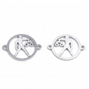 obesek/vmesnik za nakit, tehtnica, 21x16x1 mm, luknja: 1.4 mm, nerjaveče jeklo, 1 kos
