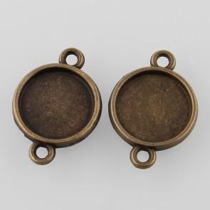 vmesnik, osnova za obesek-medaljon,21x15x3mm, kapljica 12 mm, antik, brez niklja, 1 kos