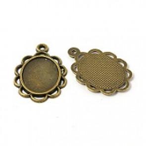 osnova za obesek - medaljon 29x20mm, antik, velikost kapljice: 18x13 mm, 1 kos