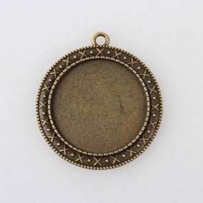osnova za obesek - medaljon 44x30x2mm, antik, brez niklja, velikost kapljice: 30 mm, 1 kos
