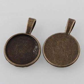 osnova za obesek - medaljon 31x21x2mm, antik, brez niklja, velikost kapljice: 18 mm, 1 kos