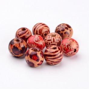 lesene perle, okrogle 16 mm, velikost luknje: 5 mm, mix, 50 kos